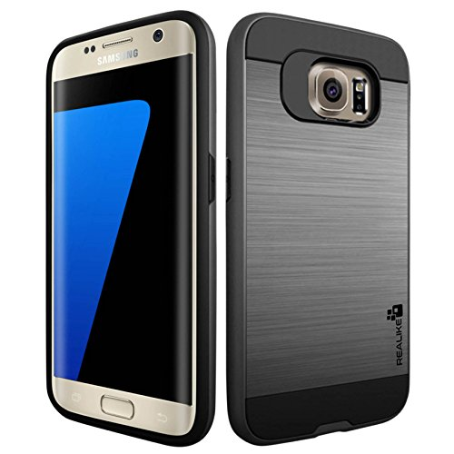 Realike-Samsung-S7-Edge-Premium-Shock-Proof-Protective-Dual-Layer-Case-For-Samsung-Galaxy-S7-Edge-Simply-Fit-SeriesGrey