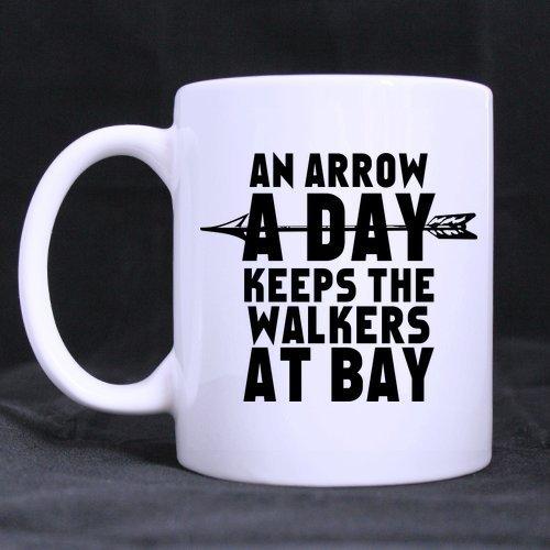 lilihome an Arrow A Day Keeps The Walkers at Bay Mug - Custom White Mug 11 oz Coffee Mug or Tea Cup Gift -