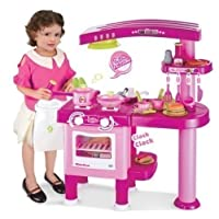Allkindathings  69 pieces Large Children Kids Kitchen Cooking Role Play Pretend Toy Cooker Pink