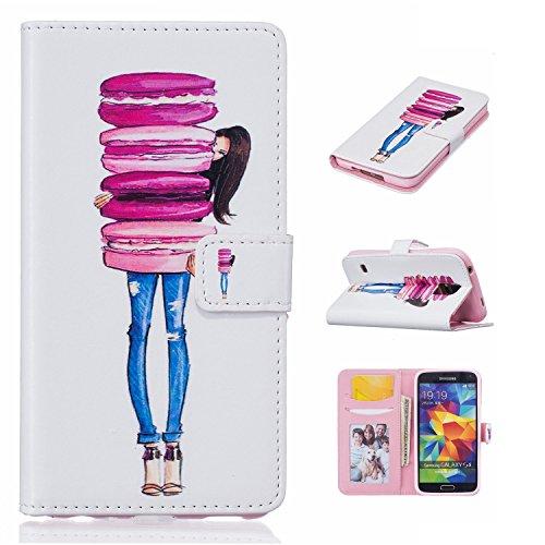 Guran® PU Leder Tasche für Apple iPhone 5S / SE (4 Zoll) Smartphone Flip Deckung Stehen Funktion und Karte Slot Case-ananas color6
