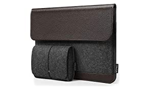 HOMIEE Laptop Sleeve Macbook Air Case Felt & PU Leather Bag with Extra Storage Case, Protective Cover for 13inch Macbook Pro/iPad Pro/Dell/Lenovo/HP/Chromebook Business Notebook Carrying Case Brown
