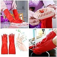 Rosa Lagarto impermeable Alargar lavar platos de látex guantes de limpieza 38cm antideslizante