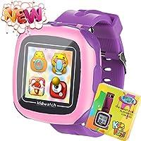 kids Juego chicos pantalla tactil reloj inteligente para niños niñas niños con camara Juegos Podometro temporizador despertador Toy SmartWatch reloj monitor de salud (purple)