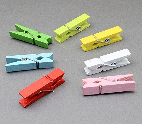 100 Kleine Holzklammern Mini Wäscheklammern 25 mm Bastelklammern Mix DEK29