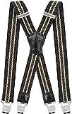 Decalen Hosenträger für Herren Breit 4 cm mit sehr Starken 4 Metall Clip Lang Einheitsgröße für Männer und Damen Einstellbar und Elastisch X Style (Grün Beige)