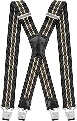 Decalen Hosenträger für Herren Breit 4 cm mit sehr Starken 4 Metall Clip Lang Einheitsgröße für Männer und Damen Einstellbar und Elastisch X Style (Grün Beige) - Für Hosenträger Kinder Große