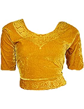 Oro Terciopelo Top Blusa Choli para Bollywood Sari Talla XL