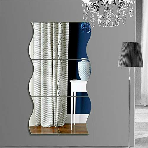 OPNIGHDYMD Pegatinas de Pared, 3D Espejo Ondulado Arte DIY Home Decorativo acrílico Espejo...