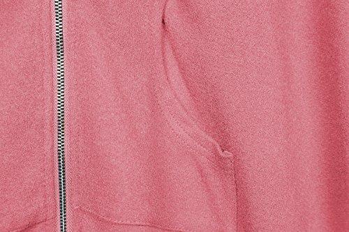 Urban GoCo Donna Sweatshirt Maniche Lunghe Con Cappuccio Cerniera Hoody Giacca Bordo Irregolare Felpe Rosa