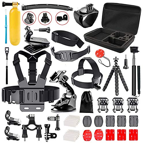 Followsun 52-in-1 Kit de Accesorios Acción Cámara Deportiva para GoPro Hero 2018/Session/Hero 7 6 5 4 3+ 3 2 1 AKASO EK7000 Campark ACT74 ACT76 APEMAN A8O A70 ENEK Crosstour Sjcam DBPOWER Yi VicTsing