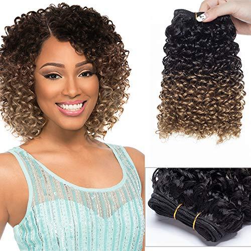 Sego extension capelli ricci corti 20cm matassa fascia unica capelli finti sintetici fibre calore resistente onda water, 120g/bundle - nero ombre marrone caffè