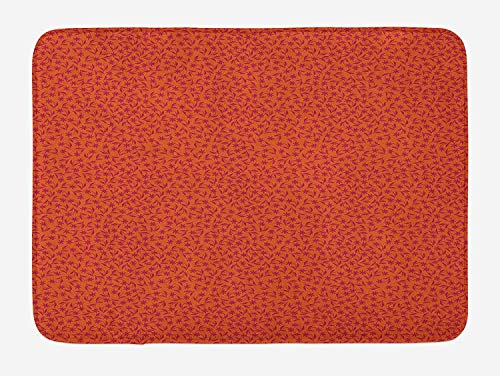 Floral Bath Mat, Spring Autumn Season Time Flower Print Inspired Image with Leaves Artwork, Plush Bathroom Decor Mat with Non Slip Backing, 23.6 W X 15.7 W Inches, Scarlet and Maroon -