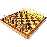 StonKraft handgefertigtes, hochwertiges Holz-Schachspiel 46 x 46 cm ? magnetische Schachkassette aus Rosenholz