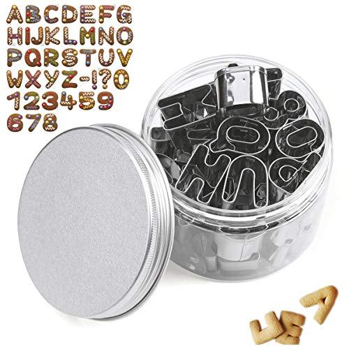 KAISHAN Edelstahl-Ausstechformen Zahlen, Buchstaben Alphabet Ausstechformen für Kuchendekoration, mit Aufbewahrungsbox von 36