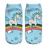 HENGSONG Women Girls Cute Unicorn Pattern Socks Sports Stocking (Blue 1#)