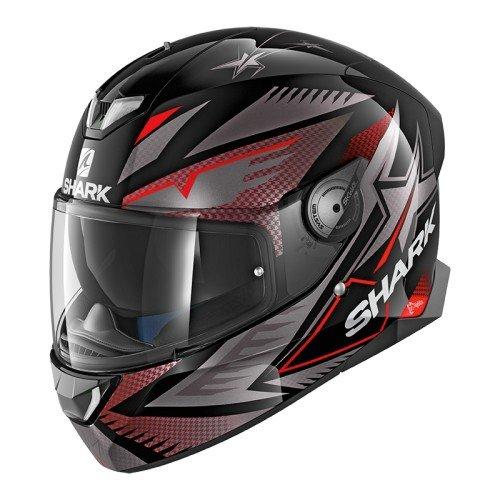 Shark Skwal 2Draghal, casco da moto, nero/rosso, taglia M