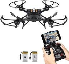 NOVEDAD - Drone Flotando, Potensic Wifi FPV 2.4GHz 4CH 6-Axis Gyro RC Quadcopter Drone con Cámara 2 Megapíxeles HD, Función 3D Flips - Negro