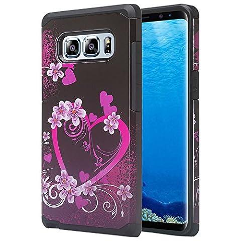 Wydan Samsung Galaxy Note 8 Case - Slim Hybrid Shockproof Hard Tpu Phone Cover - Heart Flower - Black Pink