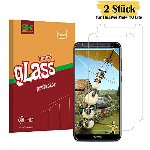 Huawei Mate 10 Lite Panzerglas Schutzfolie, Sourond Hohe Qualität Gehärtetem Glass [2 Stück] [9H Härte] [HD Clear] [0,3 mm, 2.5D] [Crystal Clear] [Blasenfrei] [Anti-Kratzer] [Touch-kompatibel] Panzerglasfolie für Huawei Mate 10 Lite