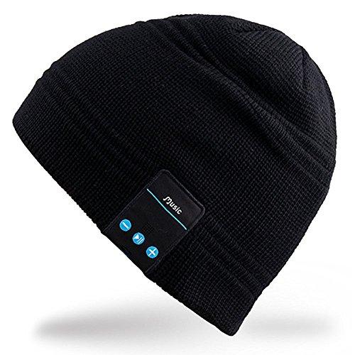 iEFiEL Beanie Strick Mütze Universal mit Bluetooth Stereo Kopfhörer Headset Musik, Kopfhörer Bluetooth Mütze Headset winter Strickmütze Wireless Smart Cap (One Size, Schwarz)