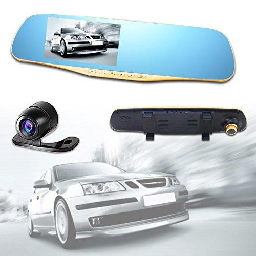 HENGDA® Auto Kamera 4.3 Zoll HD 1080P HD Rückspiegel Auto Dash Cam mit Loop Recording und Rückfahrkamera (Sperrt Internet)
