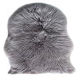 KAIHONG Spitzenqualität Lammfellimitat Teppich, 60 x 90 cm Lammfellimitat Teppich Longhair Fell Optik Nachahmung Wolle Bettvorleger Sofa Matte (Grau, 60 x 90 cm)
