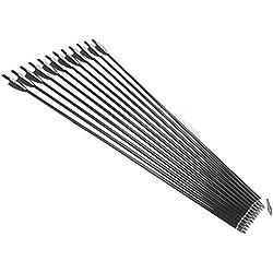 12 piezas 80cm Tiro con arco de caza Flechas de fibra de vidrio