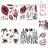 Tatuajes Temporales de Heridas, METALBAY Tatuajes Adhesivos Coporal de Heridas, Arañas y Huesos para Halloween 4 Hojas Grandes y 2 Pequeñas