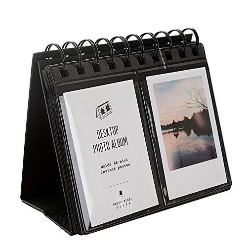 Mishiner 68 Taschen Tischkalender Fotos Album für Polaroid 3 Zoll Bilder Fujifilm Instax Mini Fotoalbum Schwarz
