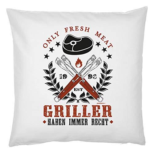 smurfbay Griller Deko Kissen - Only Fresh Meat Grillen Immer eine Gute Idee - Kuscheliges fürs BBQ