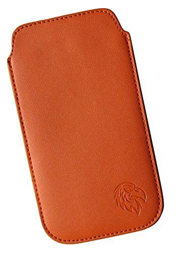 Schutz-Tasche passend fuer Samsung Galaxy S8 mit Huelle, Pull-tab Handy-Huelle herausziehbar, Etui genaeht mit Rausziehband, duenne Tasche mit exklusivem Motiv Adler XX Orange