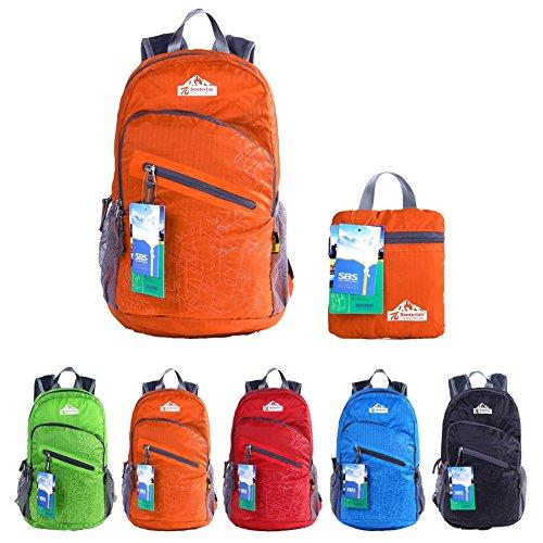 EGOGO multifunktionale haltbar stopfbare handlich leichte Reise Rucksack Daypack Schultasche Wandern Rucksack S2212 (Orange)