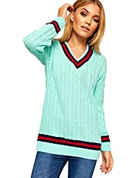 3fea31d417437 Ladies Knitted V Neck Cable Cricket Jumper Long Sleeve Womens Striped Top  Turquoise 12 14