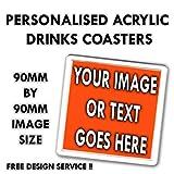 GoT The personalisierbar Acryl Untersetzer Custom Bild Foto Getränke Mats Tee/Kaffee/Wein Untersetzer Logo Geschenk Set 90mm von 90mm, acryl, farblos, 12er-Pack