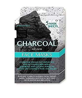 My Beauty Spot 5 Pack Charcoal Infused Purifying Facial Masks to draw out impurities ad detoxify skin while shrinking and cleaning pores of excess oil laving it PURE and FRESH from My Beauty Spot