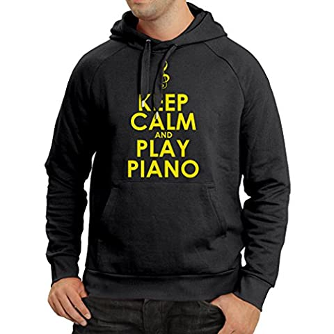 Sweatshirt à capuche manches longues Play Piano - citations musicales (Medium Noir Jaune)