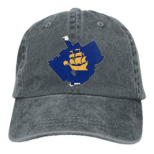 Wdskbg Flag-Karte von Quebec City einstellbare Unisex-Baseballmützen Denimhüte Cowboy Sport Outdoor Multicolor71