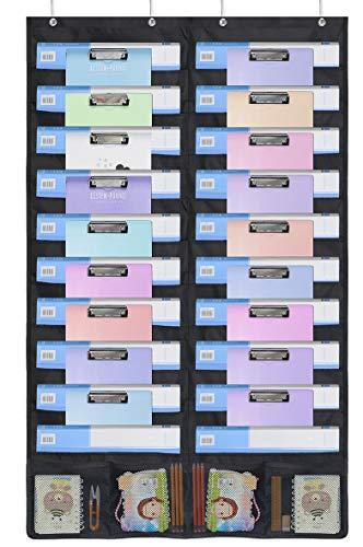 homyfort Tabla de Bolsillo de Almacenamiento para Colgar Organizador de Archivos - Soporte de Pared revistero, hogar, Escuela u Oficina Bill, con 4 Ganchos 24 Bolsillos, Color Negro, WJJGD21