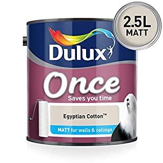 Dulux Once Matt Emulsion Paint For Walls And Ceilings - Egyptian Cotton 2.5L