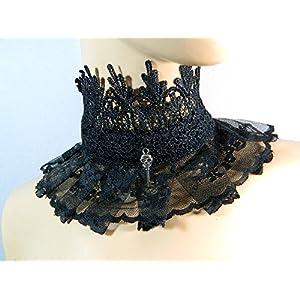 Halsband Schlüssel schwarz Spitze Kropfband Choker Kette Gothic Lolita Kragen