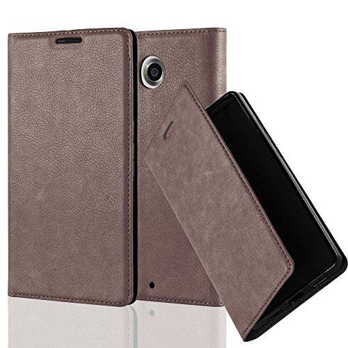 Cadorabo Hülle für Lenovo Google Nexus 6 / 6X - Hülle in Kaffee BRAUN – Handyhülle mit Magnetverschluss, Standfunktion und Kartenfach - Case Cover Schutzhülle Etui Tasche Book Klapp Style