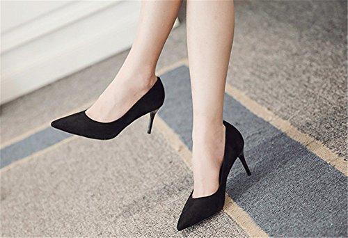 FLYRCX Europei e Americani scarpe alla moda, nero e scarpe a punta in autunno e in inverno,37 35