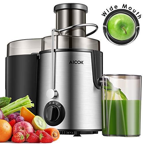 AICOK- Licuadoras para Verduras y Frutas Acero Inoxidable, Licuadora Exprimidora de Boca Ancha de 65mm...