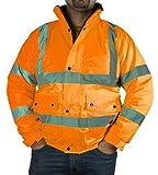 Hi Vis-Giacca Bomber alta visibilità, ULTRA, classe 3, colore: giallo fluo Orange & Giacche di sicurezza per lavoro/HQ fodera in pile, misura grande, 2 pezzi, colore: arancione