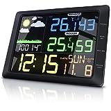 CSL - Funk Wetterstation mit Farbdisplay und Außensensor - 20 cm LCD Farbdisplay - Luftdruck Barometer Temperatur Wettervorhersage Frostalarm Datum Uhrzeit - Wecker mit Schlummerfunktion