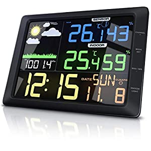 CSL – Wetterstation mit Farbdisplay und Außensensor – 20 cm LCD Farbdisplay – Luftdruck Barometer Temperatur Wettervorhersage Frostalarm Datum Uhrzeit – Wecker mit Schlummerfunktion
