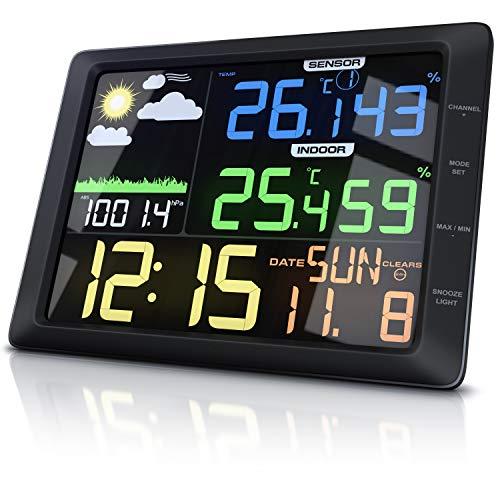CSL - Wetterstation mit Farbdisplay und Außensensor - 20 cm LCD Farbdisplay - Luftdruck Barometer Temperatur Wettervorhersage Frostalarm Datum Uhrzeit - Wecker mit Schlummerfunktion