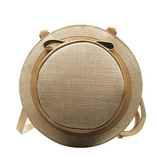 OOFAY Stroh Umhängetasche, Reise Runde Strand Runde Vintage gewebte One-Shoulder Hut Tasche, für Erwachsene und Kinder Umhängetasche Hut Tasche Dual-Purpose Purse,Brown - 1 Ausgestattet 8 2 Hüte Größe