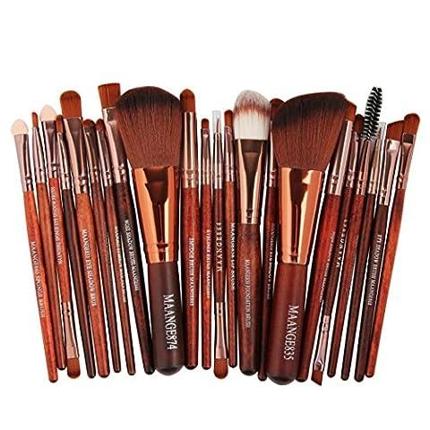 LONUPAZZ 22 pcs/set maquillage brush set makeup brushes kit outils maquillage professionnel maquillage pinceaux yeux pinceau pour les lèvres (Marron)