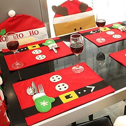 Forepin® 4pcs Table Mats Tovagliette Tovaglioli Copertura Decorazione per Festa di Natale Cucina
